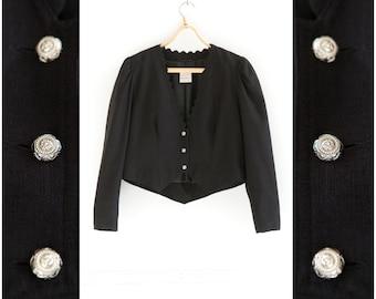 Vintage Linen Blazer 80s Cropped Blazer Black Crop Jacket Womens Small Medium Black Blazer Balloon Sleeves Linen Button Up Top Linen Jacket