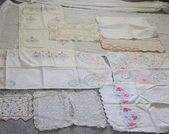 Vintage linens, doilies, dresser scarves, embroidery