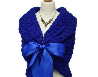 Royal Blue Shawl Wrap, Rustic Wedding Wrap, Bridal Cape, Shawl Wrap, Bridal Cover Up, Romantic Wedding Dress Cover Up, Something Blue Bolero