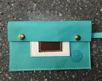 Aqua, Brown and White Leather Clutch, Wistlet, Purse Insert