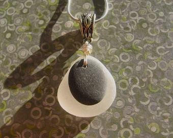 Lake Superior Basalt Zen Stone and Beach Glass Pendant Necklace