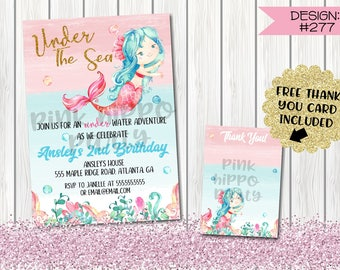 Mermaid Watercolor Under the Sea:Design #277-Children's Birthday Party Digital Invitation File 4x6 or 5x7 Free Thank You Card with Purchase