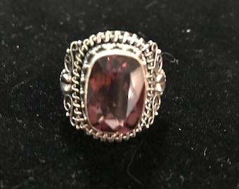 925 Ring Size 6 Purple Stone