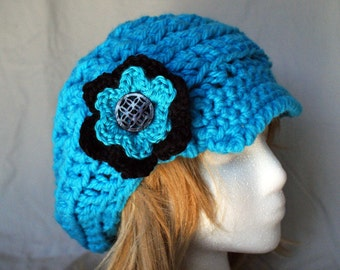 Crochet hot blue slouchy hat with brim