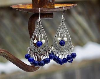 Lapis Lazuli Bohemian Blue Earrings ~ Chandelier Earrings ~ Tibetan Silver Teardrop ~ Boho Style Jewellery ~ Statement Pieces ~ Elegant Gift
