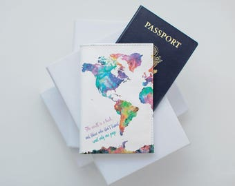 Colorful world map etsy colorful map passport custom free design hello world passport holder passport leather cover passport case wallet gumiabroncs Gallery