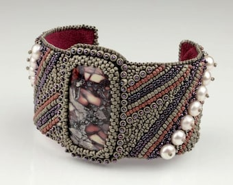 Bead Embroidery Cuff Bracelet. Persistence. Bead embroidered. Porcelain jasper, glass. Beadwork.
