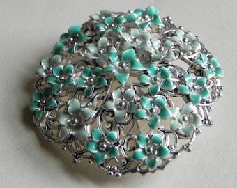 Monet Enamel Multi Flower Brooch, Silver Tone, Green Blue Flowers