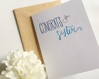 Congrats Sister on Engagement Card - Sister Engagement Card - Wedding Card - Sorority Sister Card -  Sisters Congratulations Greeting Card