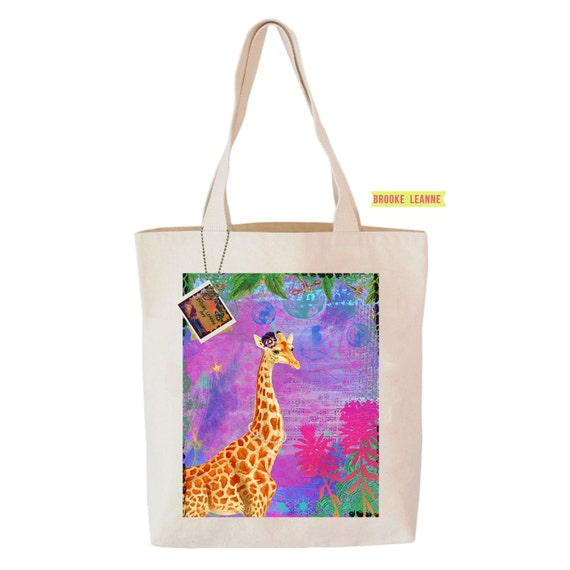 Giraffe Tote Bag, Reusable Shopper Bag, Farmers Market Bag, Cotton Tote, Shopping Bag, Eco Bag, Reusable Grocery Bag, Printed in USA