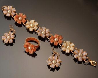Jewelry Set Earrings ring and bracelet Beadwork Flowers set