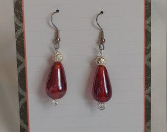 Earrings: red glass
