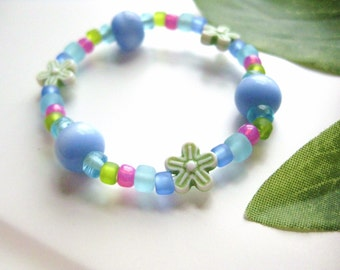 Blue, Green and Pink Beaded Bracelet with Flowers, Small Girls Bracelet, GBS 110