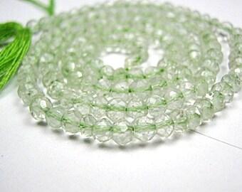 Prasiolite (Green Amethyst) Gemstone. Faceted  Rondelles,  Semi Precious Gemstone Bead. 4mm Strand Your Choice   (j3pra)