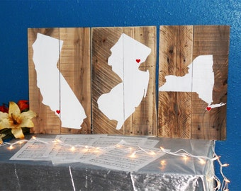 Reclaimed States Wood Sign • Custom Home State Sign • State Pride Sign • Rustic state sign • California Sign • New York sign • Illinois sign