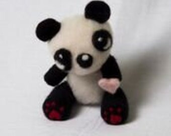 Needle Felted Giant Panda with Pink Heart Wool Felted Giant Panda Unique gift