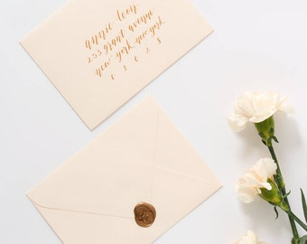 Envelope Addressing in Calligraphy | Custom Envelope Addressing for Weddings & Special Events | Gold Ink
