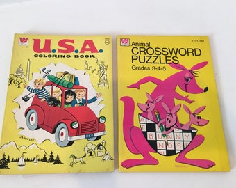 Vintage Coloring Books/ 60s/ 70s/ Crosswords
