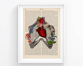 Red Heart Anatomy print, Medical poster Vintage Illustration Wall decor Decorative Art Book Page Retro Poster Vintage Book print 128