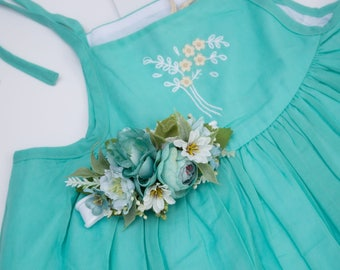 Flower Headband - Turquoise White Flowers and Greenery on Nylon Headband - m2m Well Dressed Wolf Sundress and Teal Josie - Baby Headband