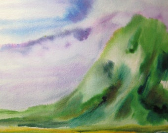 Kauai Mountain, Original Watercolor on Arches Paper Green Painting 17 X 23 inches by Karen Pratt