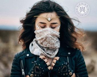 TOPI Beige Bandana Dust Mask Buff Scurf Headwear White Peacock