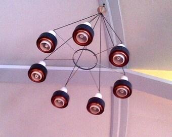 60s Amazing huge Mid Century Minimal Modernist Danish former church chandelier 7 arms lamp