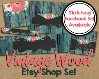 Etsy Banner Set - Vintage Wood Etsy Shop Banner - Antler Banner - Wooden Etsy Shop Banner - Etsy Cover Photo - Wood Antler Etsy Shop Icon