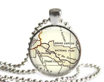 Grand Canyon map necklace, Grand Canyon Map Jewelry, Arizona maps photo pendant, friend gift, boyfriend gift, gift ideas, A103