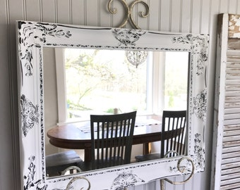 White and Black Vanity Mirror, Bathroom Mirror, Farmhouse Mirror, Ornate Mirror
