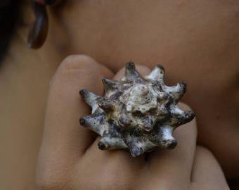 Large Seashell Ring, boho jewelry