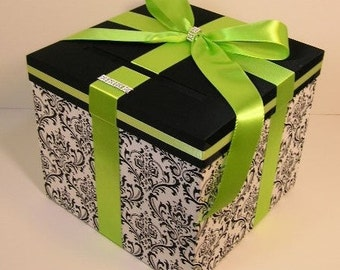 Wedding  Card Box Damask and lime green Gift Card Box Money Box Holder-Customize/made to order (10x10x9)