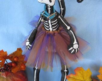Bony Moronie - Cloth Doll E-Pattern  16in Skeleton Cat Doll epattern