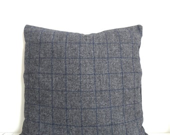 """20x20"""" ITALIAN CASHMERE and Wool Grey and Navy Plaid Decorative Accent Pillow Cover, Square"""