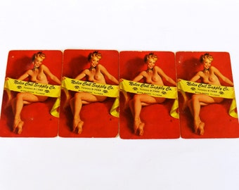 Four 1950s Gil Elvgren Pinup Playing Cards - Vintage Paper Craft Supply or Naughty Gift Tags- Nude Pin Ups - Cee Bee (to Have) 1953