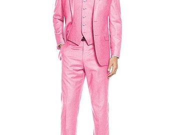 Mens ALBERTO NARDONI Festive Pink 3 Piece Dress Formal Suit with Flat Front Pants High Quality