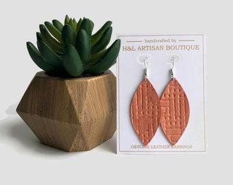 Leather Earrings, Salmon Basket Weave, Petal Earrings, Joanna Gaines Inspired, Statement Earrings, Leather Earrings, Spring Summer Jewelry