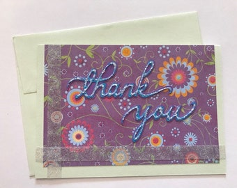 Handmade Thank You Card in Purple and Green with Flowers and Glitter Accents