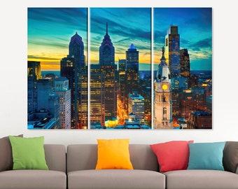 Philadelphia Canvas Print Philadelphia Skyline Philadelphia Photo Philadelphia Wall Art Philadelphia Decor Philadelphia Gift 5 Panel Canvas