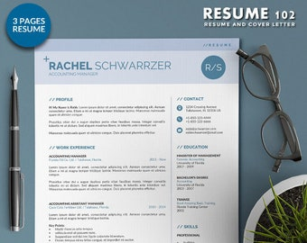 Simple Resume Template Word | CV Template Word | 3 Page Professional Word Resume + Cover Letter | Modern and Creative Template in 3 Colors