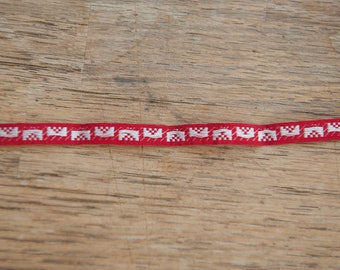 3 yards of Red Vintage Trim -  60s 70s New Old Stock Embroidered Dolls