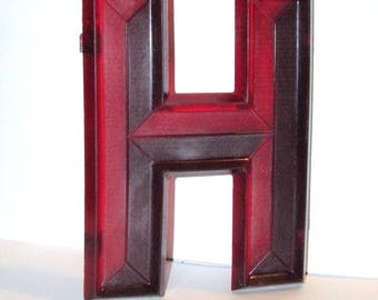 Vintage 1950s Letter H, Movie Theater Marquee Letter, Mid Century Sign, Red Lucite Letter, Urban Industrial Initial, Art Deco Wall Hanging