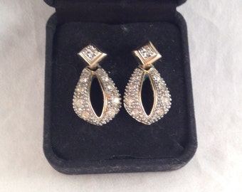 Silver and Gold Tone Rhinestone Post Earrings, Door Knocker Earrings, 1.25 Inches Long and 5/8 Inches Wide Previously 15 Dollars ON SALE