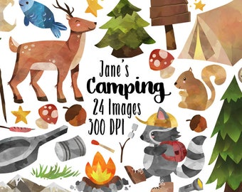 Watercolor Camping Clipart - Camping Supplies Download - Instant Download - Deer - Squirrel - Tent - Commercial Use - Pine Trees - Campers