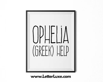 Ophelia Name Meaning Art - Printable Baby Shower Gift - Nursery Printable Art - Digital Print - Nursery Decor - Typography Wall Decor