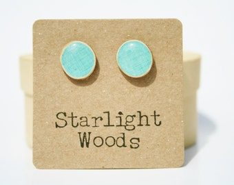 Sky blue stud earrings. Wife gift Blue studs, Blue earrings. Gift for Women. Wood stud earrings