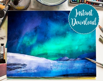 NORTHERN LIGHTS Digital Download Watercolor Panorama Polar Lights Oil Painting Canvas Landscape Art Print Nursery Painting Aurora Home Decor
