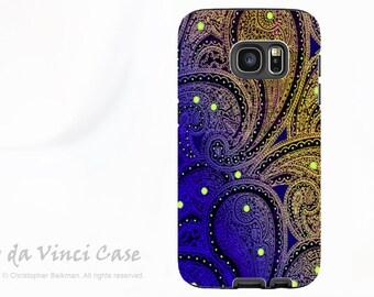 Purple Paisley Case for Galaxy S7 EDGE - Premium Dual Layer Galaxy S 7 EDGE  - Midnight Astral Paisley - by Da Vinci Case