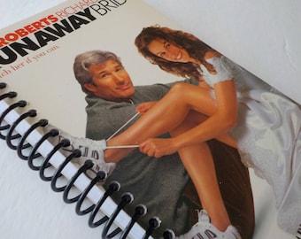 VHS Notebook, 4.00 X 7.50, 90 pages, Runaway Bride, Julia Roberts, Richard Gere, Movie Star Journal, Notepad, Spiral Book, Matching Bookmark