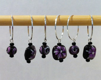Purple Painted Flower Beaded Stitch Markers for Knitting Fits up to US 35 (19.0 mm) - Set of 6